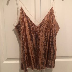 Copper sequin & lace tank top